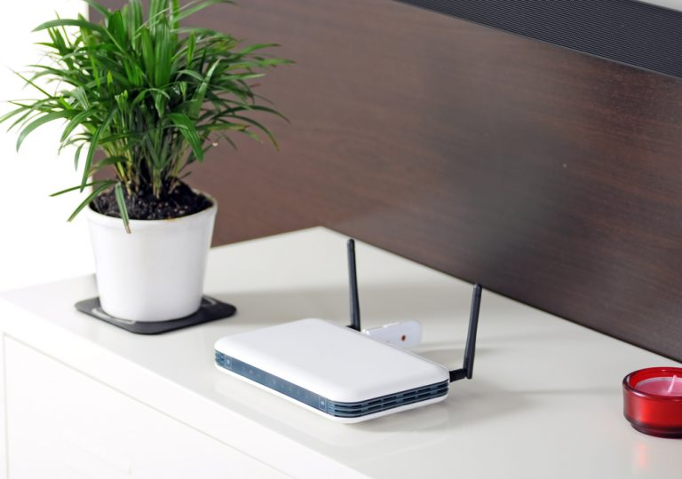 home router on table
