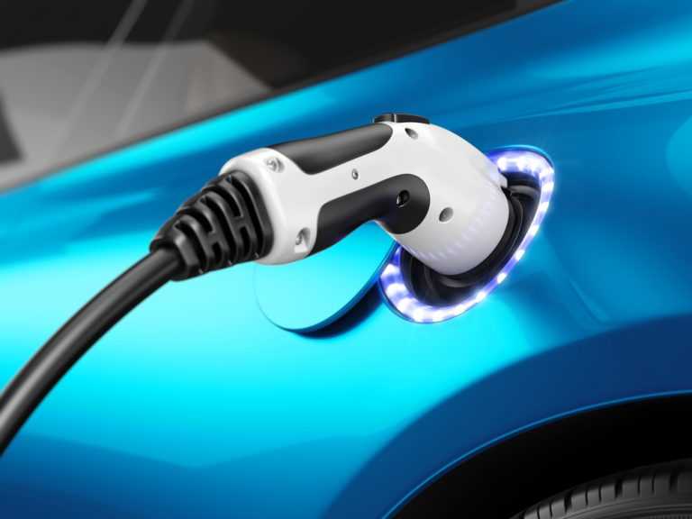 Electric Car Charger blue car
